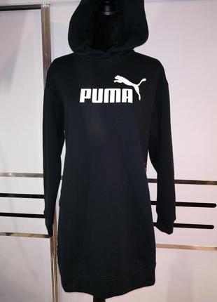 Хлопковое чёрное платье реглан худи кенгурушка puma s