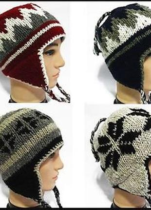 Тёплая шерстяная непальская шапка ушанка, натуральная шерсть, ручная работа непал,