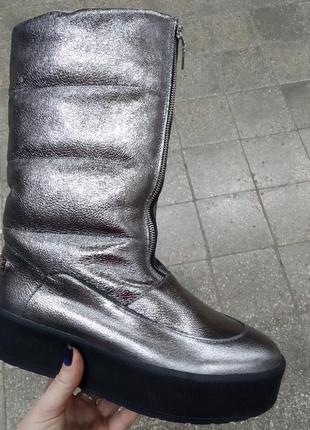 Зимние кожаные сапоги ботинки дутики