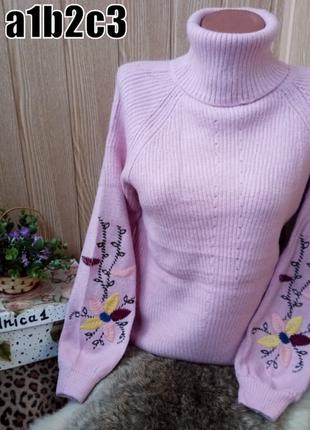 Стильные теплые женские свитера с вышивкой на рукавах 4 цвета