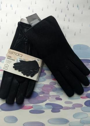 Женские перчатки натуральная кожа + ткань esmara (германия)