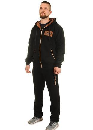 Мужской теплый трикотажный костюм со вставками из замши (502)