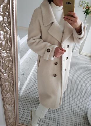 Натуральная овчина мех 100% шуба пальто в стиле max mara