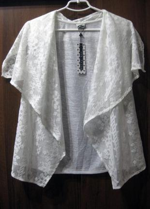 Накидка блузка vero moda noisy may белая гипюр ажурная