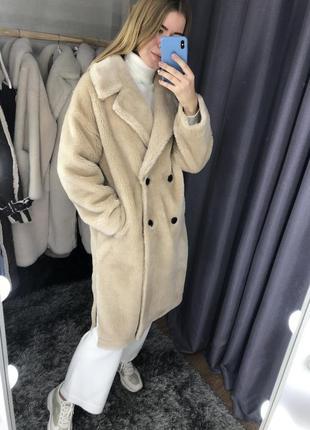 Шуба пальто из 100% натурального меха овчины