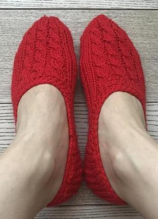Тапочки-следки hand made красные