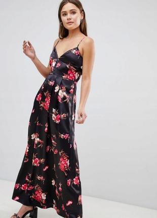 Parisian квіткова атласна сукня