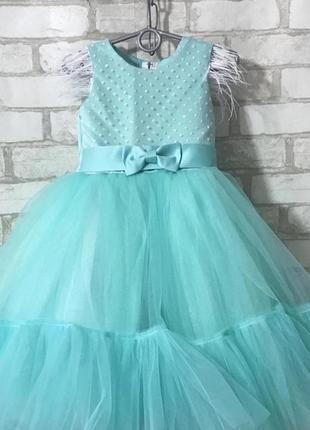 Платье 4-5 лет бальное пышное фатиновое впол праздничное тифани нарядное
