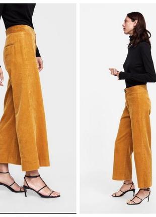 🍀zara woman l/40 яркие оранжевые вельветовые брюки/колюты2 фото