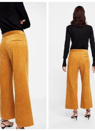 🍀zara woman l/40 яркие оранжевые вельветовые брюки/колюты3 фото