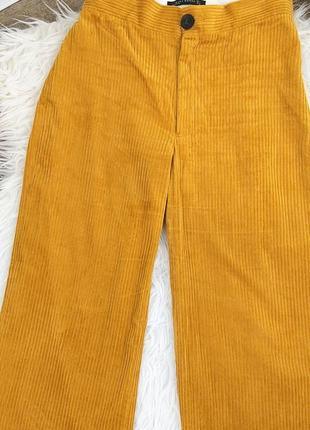 🍀zara woman l/40 яркие оранжевые вельветовые брюки/колюты10 фото