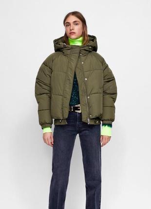 Куртка бомбер пуховик zara размер s m