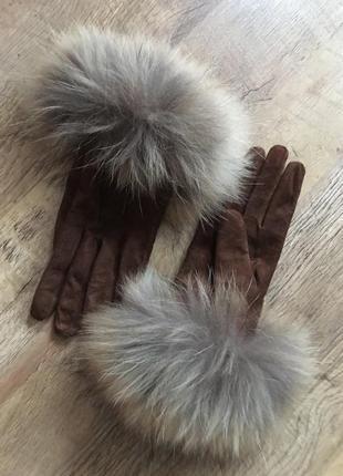 Оригинальные замшевые перчатки weekend maxmara р-р 8