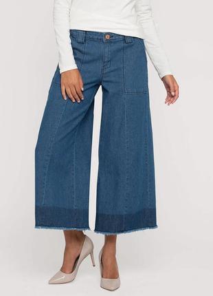 Кюлоты джинсові двохкольорові бохо гранж