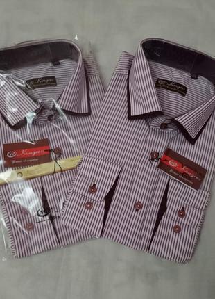 Рубашка мужская в бордовую полоску kongres, р. m-3xl. турция.