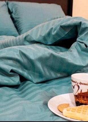 """Двухспальный комплект постельного белья страйпсатин""""бирюза"""""""