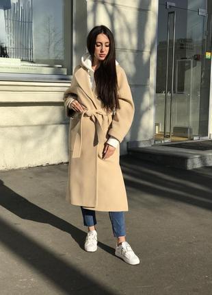 Пальто-халат длинное женское кашемировое