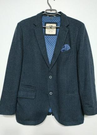Xl 52 warren parker пиджак блейзер жакет синий узор ёлочка
