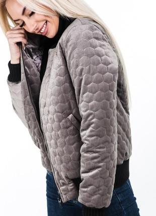 Стеганая, велюровая куртка ,  бомпер