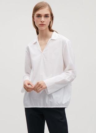 Cos белая хлопковая блуза блузка