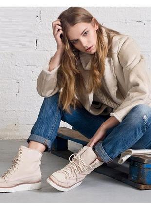 Зимние деми кеды ботинки на платформе шнурках из натуральной замши с мехом угги