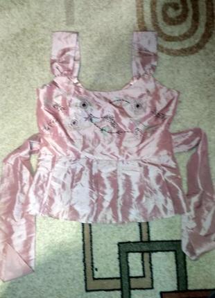 Шикарный, нарядный комплект топ и юбка с вышивкой