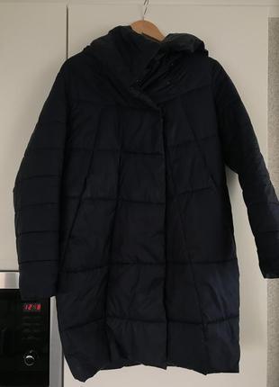 Темное синее пальто,пуховик