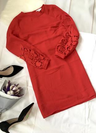 Прямое платье с плетёными рукавами h&m