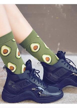 7-38 круті шкарпетки з яскравим принтом носки с авокадо
