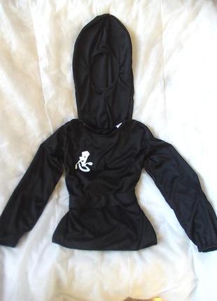 Маскарадная рубашка и головной убор для костюма ниндзя на рост 133-146 см
