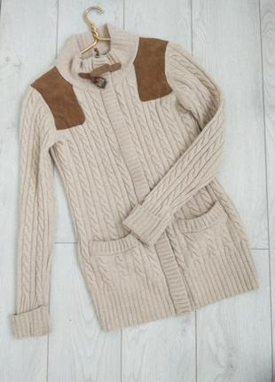 Классный свитер на молнии из шерсти ламы , верблюда и замшевые вставки