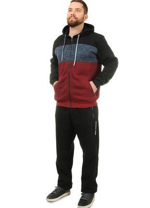 Теплый мужской спортивный костюм из трикотажа трехнитка с начесом (508ч)