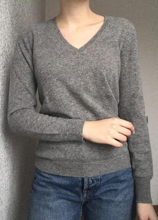 Джемпер кофта светр свитер шерсть мериноса с з шерстю мериноса сірий серий базовий бозовый