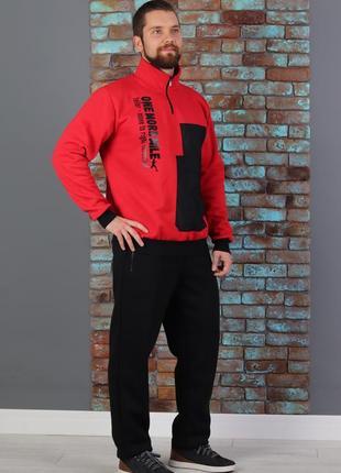 Мужской теплый трикотажный костюм батник со стойкой  (507)