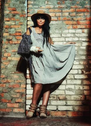 Платье с кружевом в этно бохо стиле миди расклешенное пляжное коттон хлопок