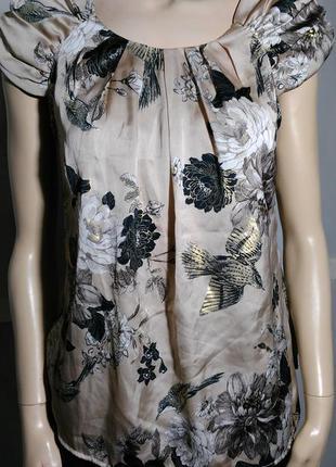 Бежевая красивая атласная блуза с птицами колибри райский сад