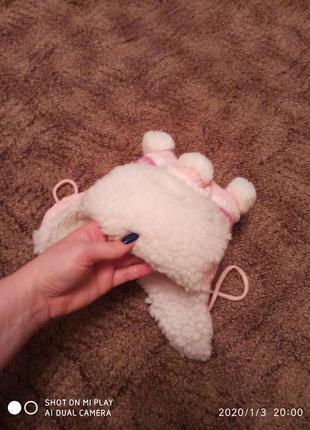 Зимняя шапка для девочки на 3-9 месяцев