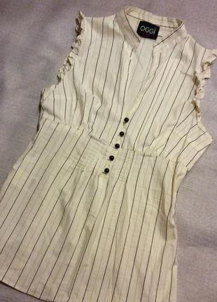 Светлая блуза без рукавов в офис oggi, размер xs