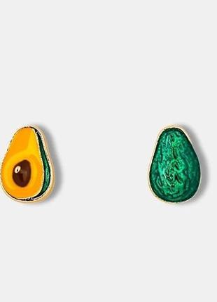 Кавайные серьги авокадо асимметричные зеленые сережки гвоздики