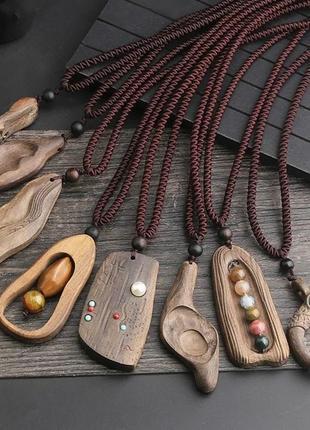 Кулон деревянный сандаловое дерево арома терапия бирюза янтарь рога подарок