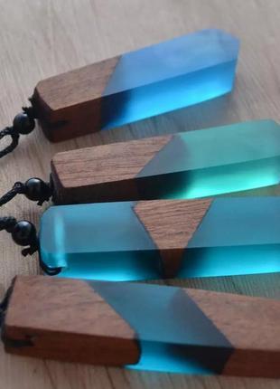 Кулон натуральное дерево + акриловая смола прозрачный кристалл акрил дерево подарок