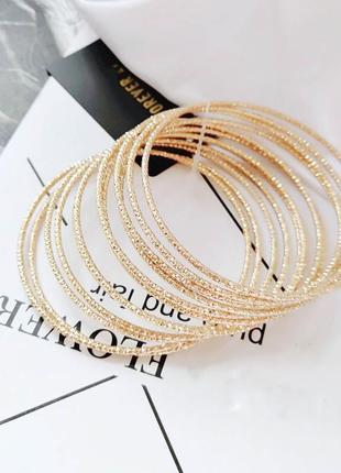 Набор тонких браслетов с усеченными краями для блеска 12шт по супер цене