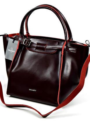 Большая женская кожаная сумка galanty бордового цвета