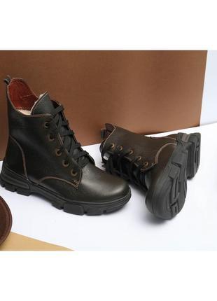 Кожаные зимние женские коричневые ботинки натуральная кожа