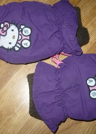 Перчатки зимние hello kitty 2-3 года фиолетовые