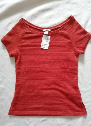 Новая терракотовая блуза h&m вырез лодочка