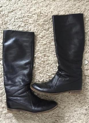 Женские кожаные сапоги трубы демисезон 39-40 размер