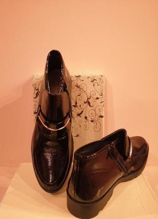 Ботинки супер чёрная эко кожа лак