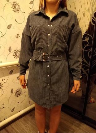 Вельветовое платье -рубашка