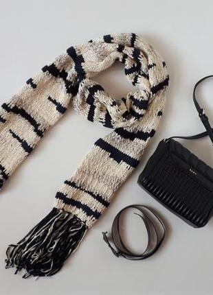 #розвантажуюсь длинный шарф promod бежевый с черным принтом и серебристым люрексом вязаный